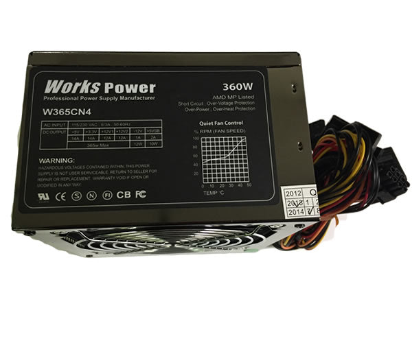 W365CN4 360W ATX 20+4 Pin SATA Power Supply w/120mm Ultra Quiet Fan