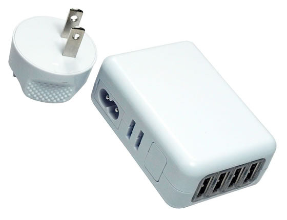 USB 4-Port AC Wall Power Charger 5V 2.1A for iPhone, iPads, Android Phones/Tablets and More