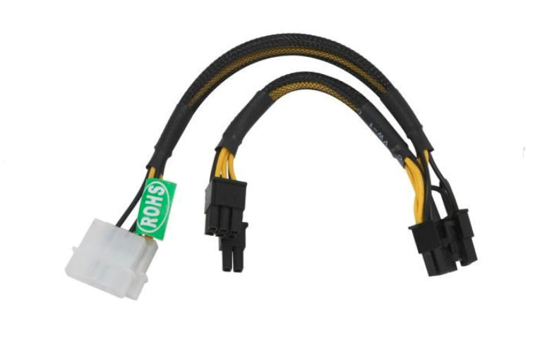 "14"" 2x 4-Pin Molex to 8"" PCIE2 8-Pin (6+2) + 6"" PCIE2 8-Pin (6+2) Power Adapter Converter"