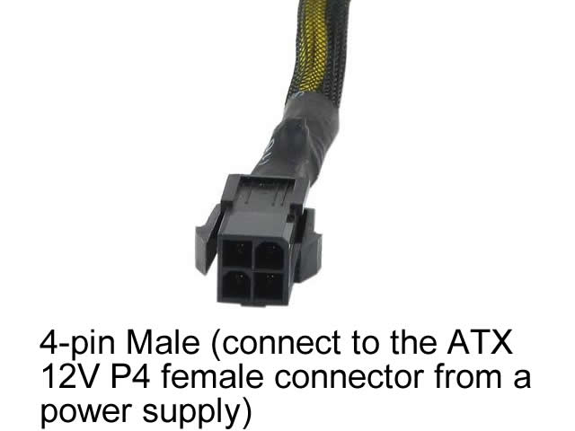 "6"" 8-Pin EPS Female Cable Adapter from P4 ATX 4-Pin Male with Black Sleeves"