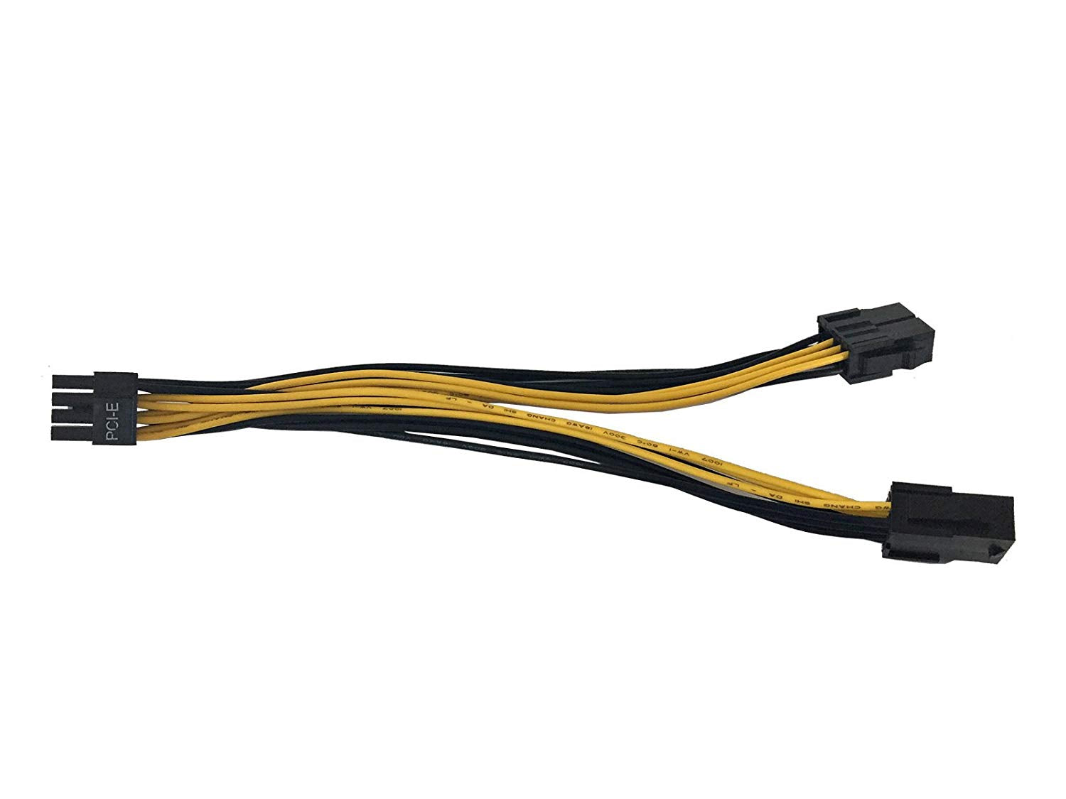 "9"" (9-Inch) 8(6+2-Pin) PCIe Male to Dual 8-Pin PCIe Female Splitter Power Cable Adapter 18AWG"