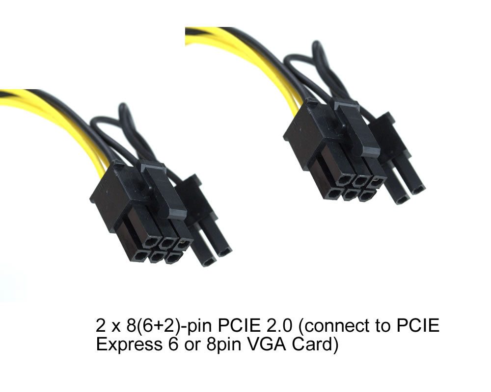 "7"" (7-Inch) PCIE 6-Pin ""Y"" to Two PCIE 2.0 8(6+2)-Pin Female to Male Splitter Adapter"