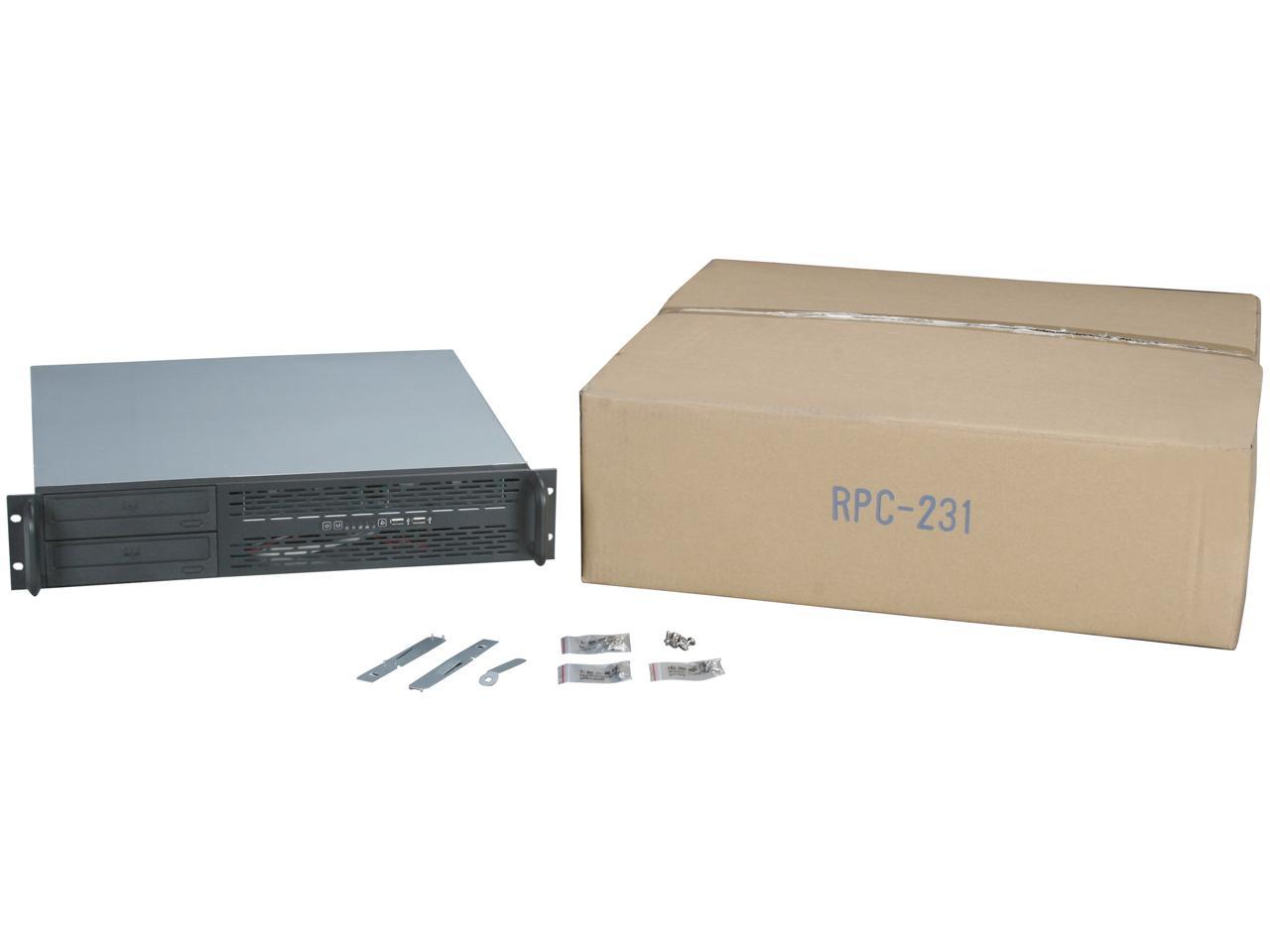 "NORCO RPC-231 Black 2U Rackmount Server Chassis 2 External 5.25"" Drive Bays"
