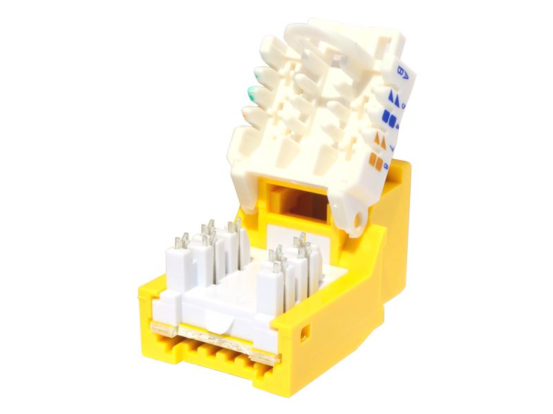 CAT6 Tool-less Keystone Jack 90 Degree 110 UTP Yellow