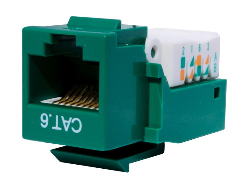 CAT6 Tool-less Keystone Jack 90 Degree 110 UTP Green