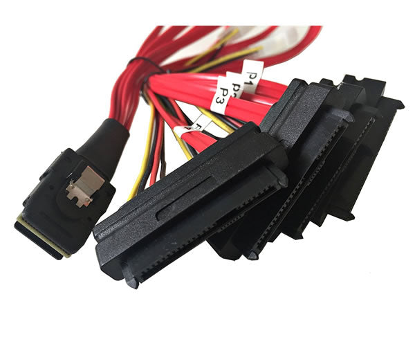 "20"" Mini SAS 36-Pin SFF-8087 Male to SFF-8482 29-Pin Female + 4-Pin Power Cable - AYA-SAS8087-SFF8482"