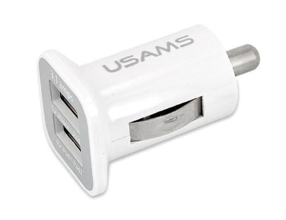 USB-DUAL-CHRGR Dual Port USB Car Charger 5V 3100mah for iPhone, iPads, iPods, HTC, Samsung
