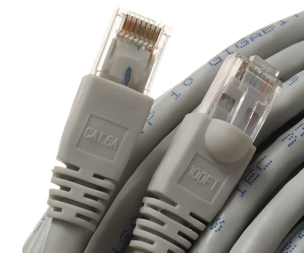 CAT6A Ethernet Patch Cable Molded Boot 500MHz 24AWG Gray