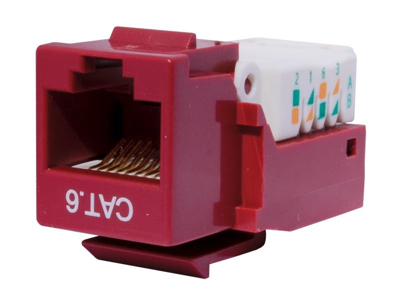 CAT6 Tool-less Keystone Jack 90 Degree 110 UTP Red