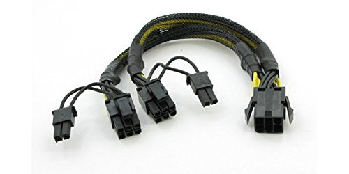 "AYA 8"" (8 Inch) PCIE 6-Pin Y Splitter to Dual PCI-E 8-Pin (6+2) Converter Adapter with Black Sleeves (AYA-YPCIE628-BS)"