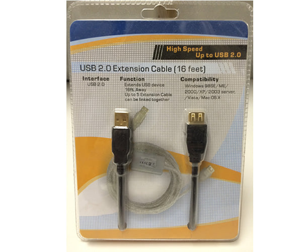 USB-EXTBLK 16Ft. USB 2.0 A Male to A Female Active Extension Cable