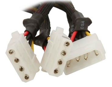 "CB-Y8-4 8"" Quad 4Pin Male Molex to 4x 4Pin Female Molex Splitters"