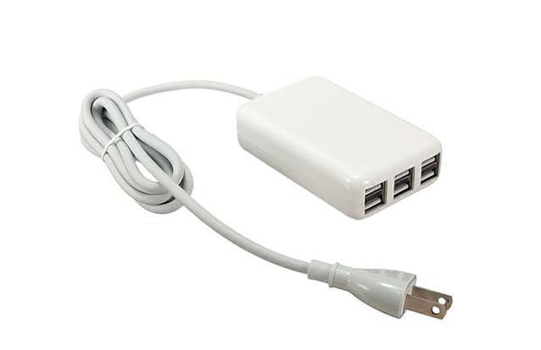 6-Port USB 5V 6A 30W Portable Multi-Purpose Charger with 5Ft. Power Cord for iPhone, iPad