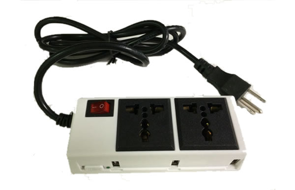 2200W 2-Power Outlet and 3-Port USB Charger with 5Ft Power Cord Macbook, PC Notebooks, iPad