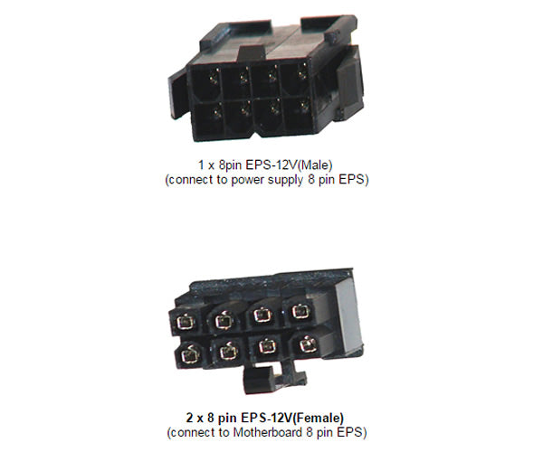 "7"" 8-Pin EPS-12V Male to Dual 8-Pin EPS-12V Female Y Splitter Cable 18AWG Black Sleeves (AYA-8PM-2X8PF)"