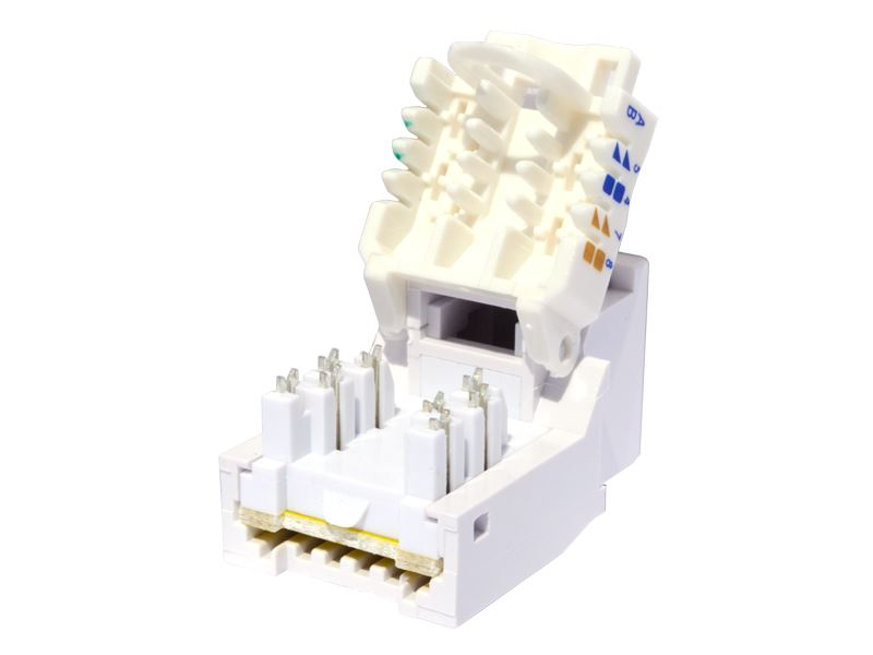 CAT6 Tool-less Keystone Jack 90 Degree 110 UTP White