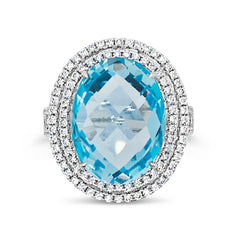 Aquamarine Cocktail Ring with Diamonds