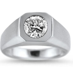 Mens Solitaire Diamond Engagement Ring