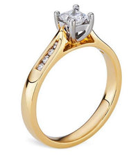 Smales Diamond Engagement Ring with Sidestones in Yellow Gold