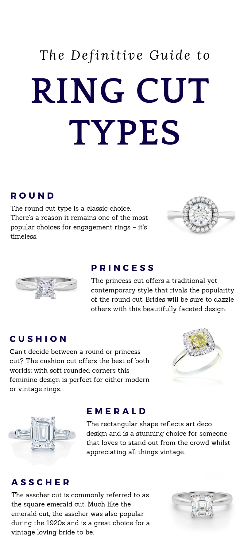 definitive guide to engagement ring cut types