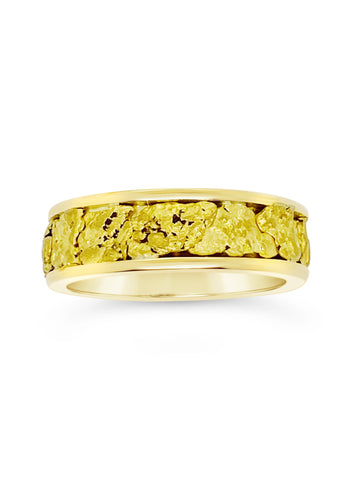 Womens Yellow Gold Nugget Ring