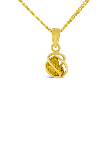 Gold Nugget Caged Pendant
