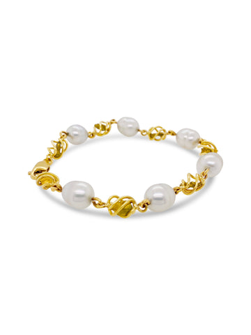 Gold Nugget and Keishi Pearl Bracelet at Smales Jewellers