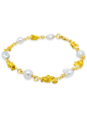 Smales Gold Nugget and Keshi Pearl Bracelet