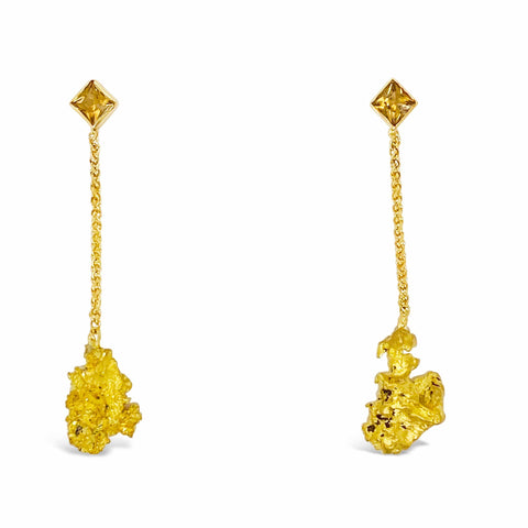 Smales Gold Nugget and Tourmaline Drop Earrings