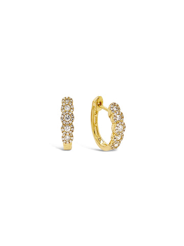 Five Diamond Halo Hoop Earrings