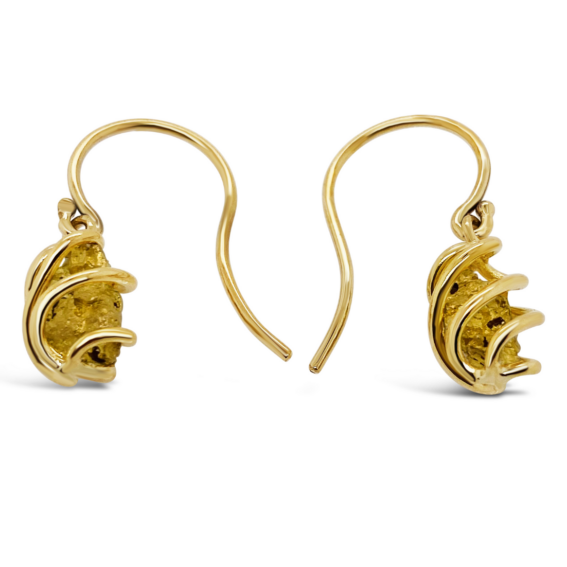 Gold Nugget Collection Caged Hook Earrings
