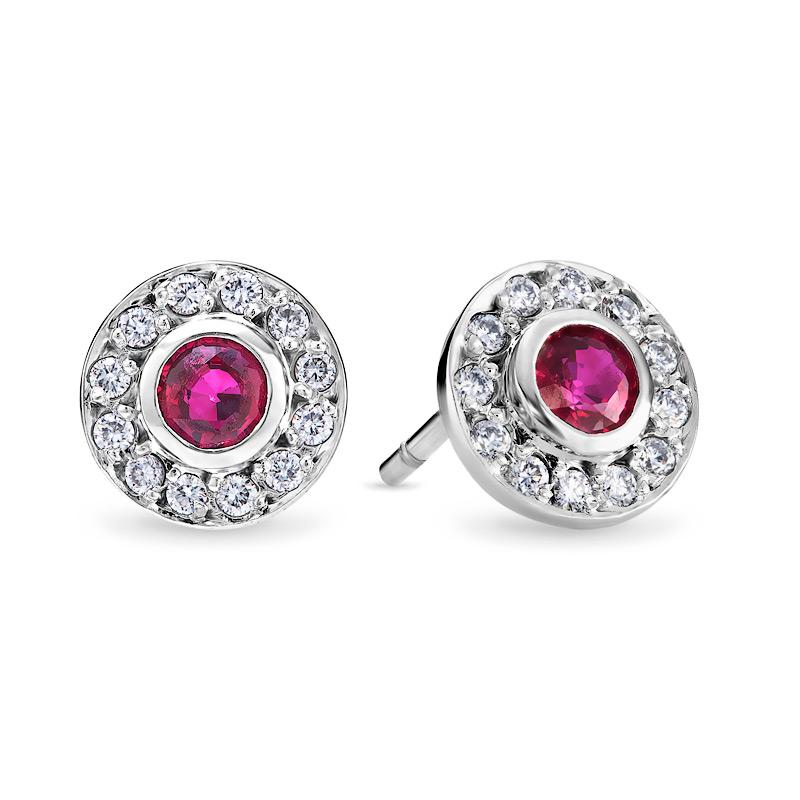 Smales Diamond & Ruby Stud Earrings in 18ct White Gold Perth