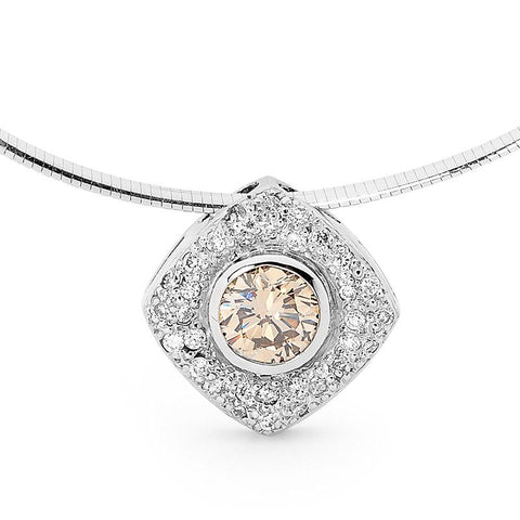 Smales Champagne Diamond Pendant in White Gold Perth