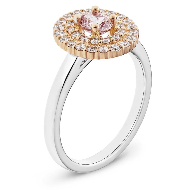 Pink Sapphire & Diamond Engagement Ring in Two-Tone Gold