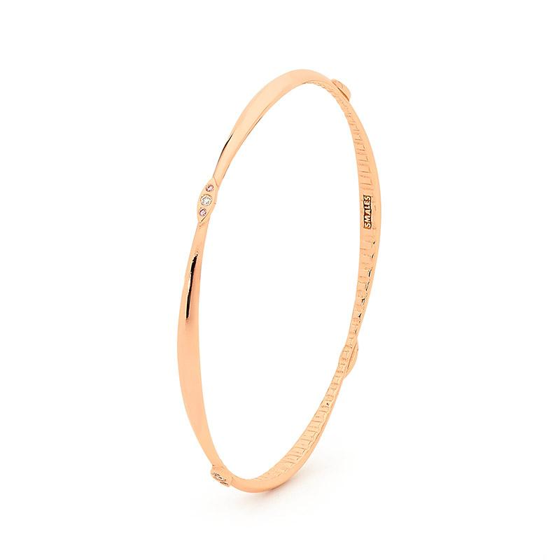 Smales White & Pink Diamond Bangle in Rose Gold Perth