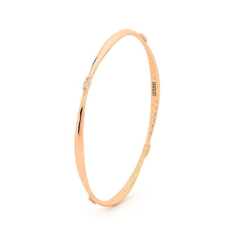 Smales White & Pink Diamond Bangle in Rose Gold