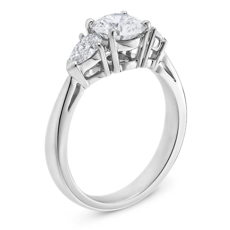 Three-Stone Diamond Engagement Ring in White Gold