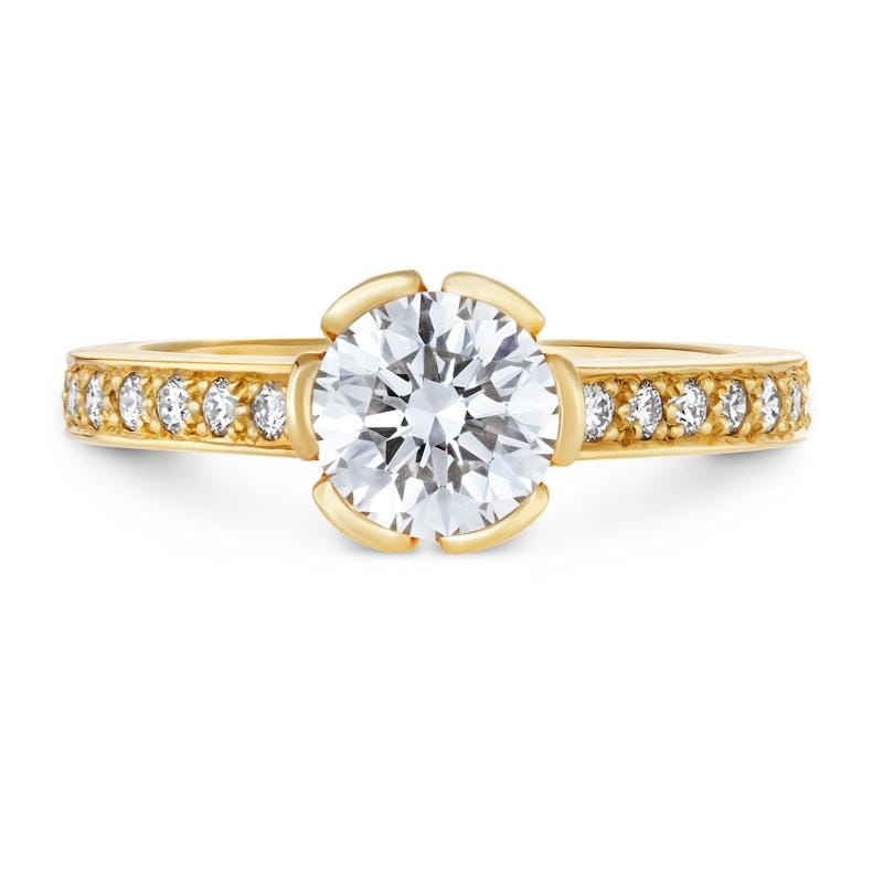 Smales Diamond Engagement Ring with Sidestones in Yellow Gold Perth