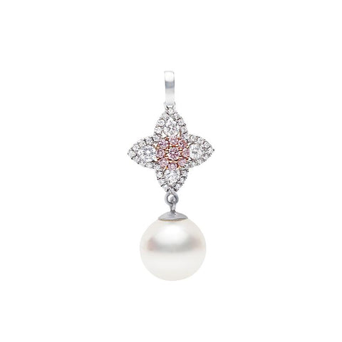 Pink Diamond and Pearl Drop Pendant