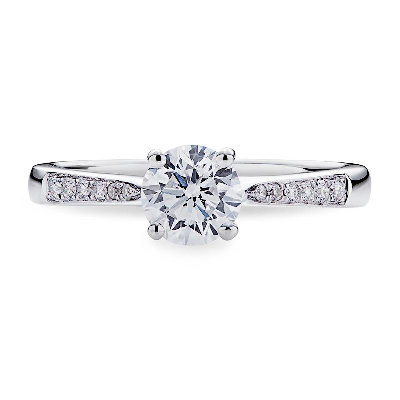 Smales Diamond Engagement Ring With Sidestones in White Gold Perth