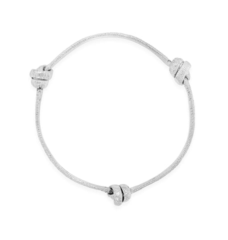 Three Knot Stering Silver Bangle