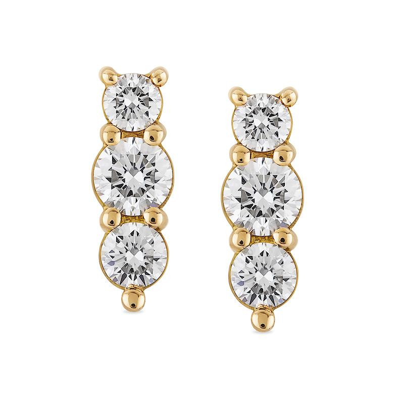 Smales Diamond Drop Earrings in Yellow Gold