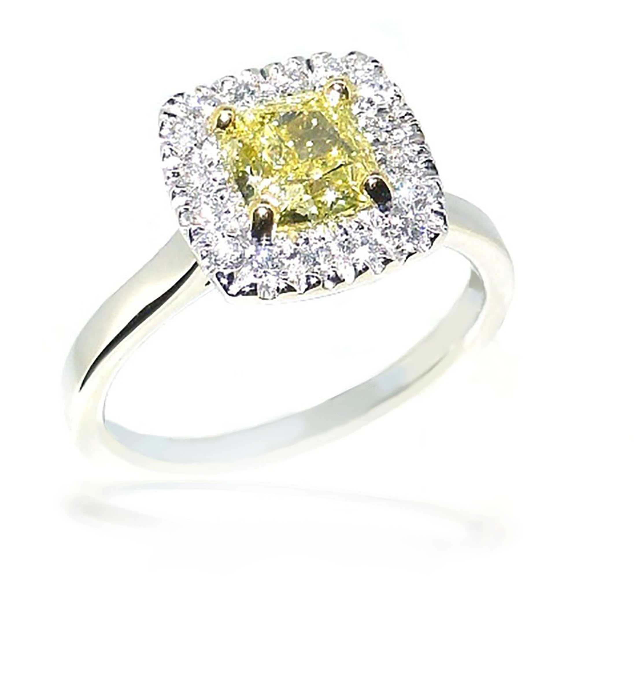 Smales 18ct Two Tone Intense Yellow Diamond Engagement Ring