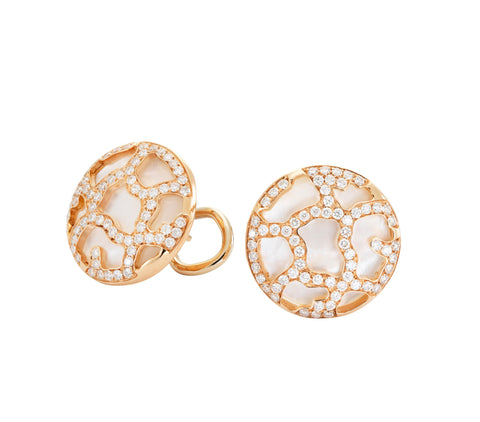 Circle Diamond, Pearl & Gold Earrings Jewellery