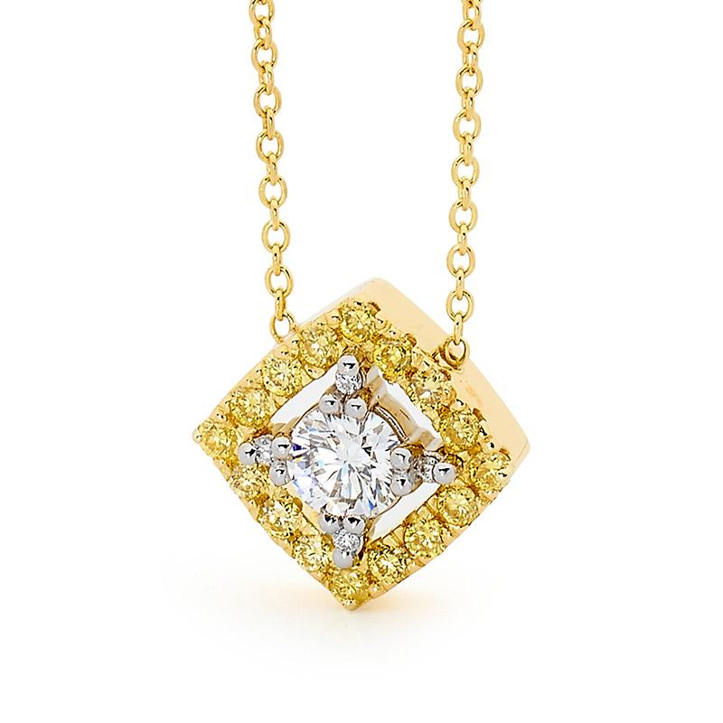 Smales 18ct Gold Fancy Yellow & White Diamond Pendant