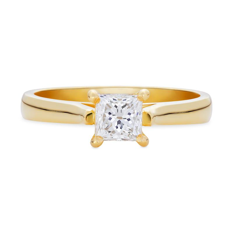 Smales Diamond Solitaire Engagement Ring Princess Cut in Yellow Gold