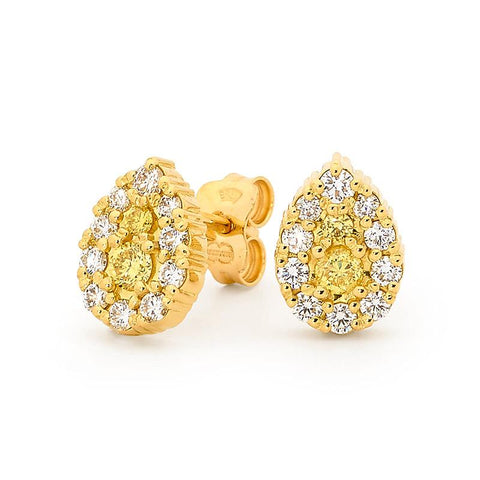 Smales Fancy Yellow & White Pear-Shape Diamond Earrings in Yellow Gold