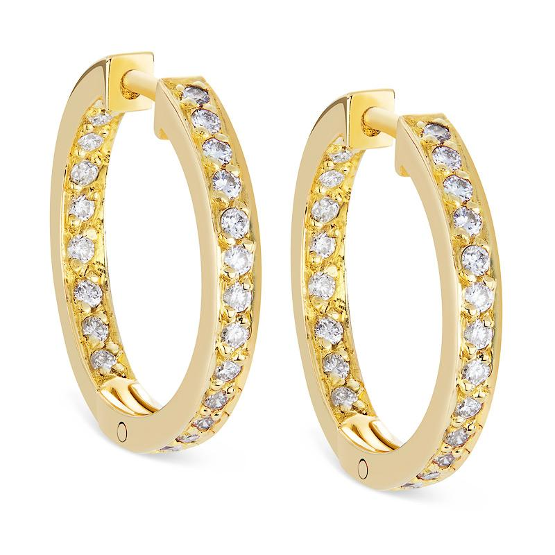 Diamond Hoop Earrings in Yellow Gold Perth
