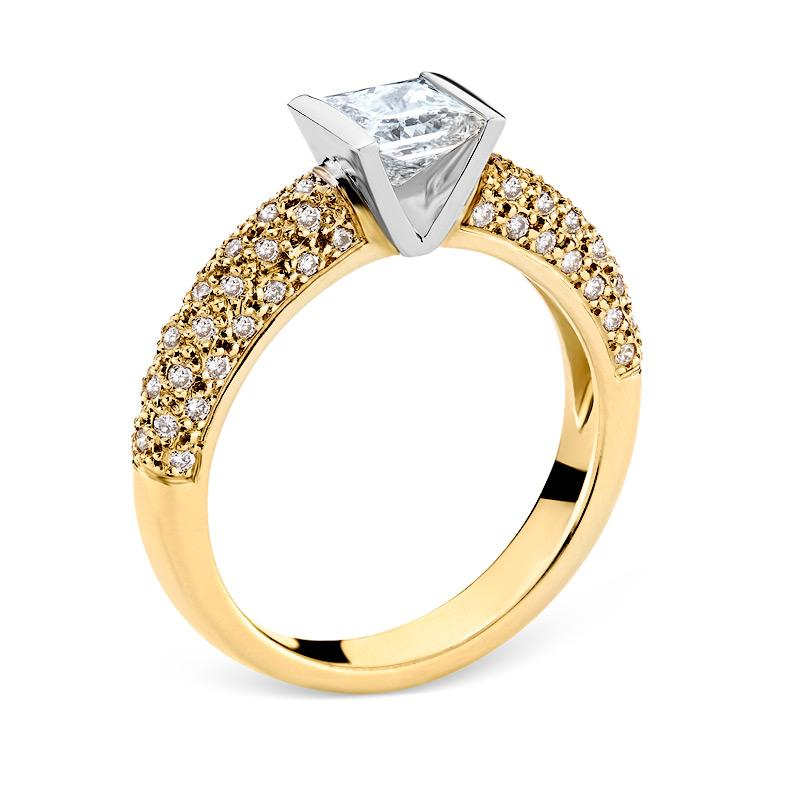Smales Princess Cut Diamond Engagement Ring in Two-Tone Gold