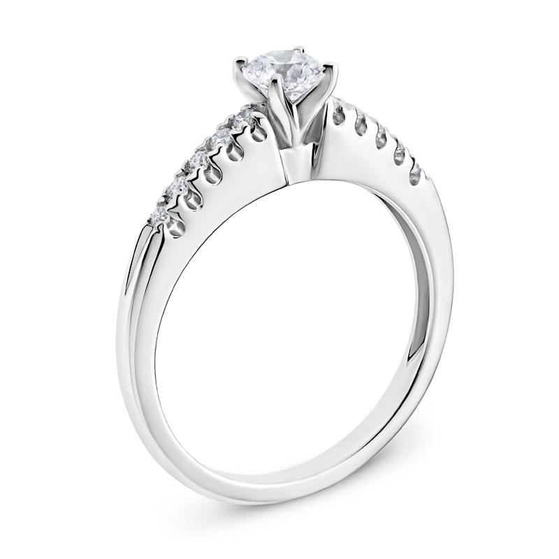 Diamond Engagement Ring with Sidestones in White Gold